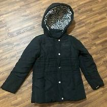 Guess Los Angeles Kids Girls Jacket Black Hooded Sign Front Size 6 Photo