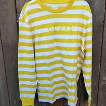 Guess Los Angeles Logo Men's Yellow/white Strips Full Sleeves T-Shirt Size L Photo