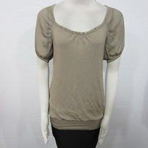 Guess Los Angeles Macy's Taupe Embellished Neckline Back Opening Party Top Sz M Photo