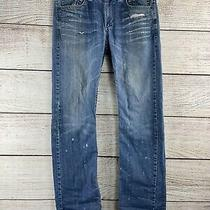Guess Los Angeles Pasadena Straight Leg Men's Blue Jeans Distressed Size 34 X 32 Photo