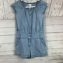 Guess Los Angeles Romper Chambray Short Sleeve Pockets Girls Sz 10 Photo