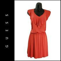 Guess Los Angeles Woman Sleeveless Short Dress Size Xs Red Orange Photo