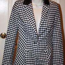Guess Los Angeles Women's Black White Checked Jacket Blazer Size 0 Satin Collar Photo