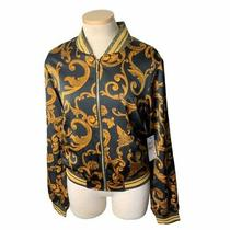 Guess Los Angeles Womens Bomber Jacket Black Yellow Floral Zip Up Pockets M New Photo