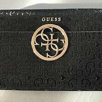 Guess Los Angeles Zip Around Clutch Wristlet Wallet Black Signature Logo-Euc Photo