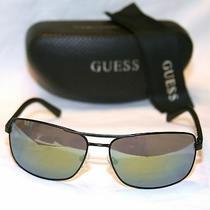 Guess Man Gu6835-6602q Mens Rectangular Sunglasses Green Mirror Lens Metal Black Photo