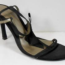 Guess Marciano Black Fabric Strappy Heels Bow Womens 7.5 7  M Ankle Strap Vguc Photo