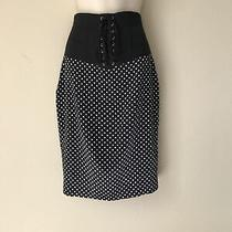 Guess Marciano Black Silk Lace Up Corset Pin Up Girl Polka Dot Womens Skirt S Photo