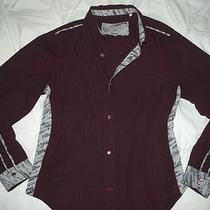 Guess Maroon Black Striped Shirt Snap Front Cotton Collar Soft Newsprint Accent Photo
