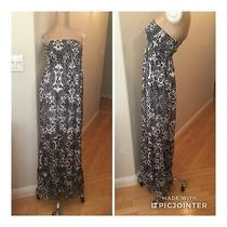 Guess Maxi Dress/ Skirt Long Sheer Floral  Boho Strapless Size S Blue White Photo