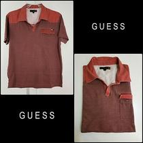 Guess Men Casual Formal Pinstripe Short Sleeve Fitted Polo Shirt Size Xl Red  Photo