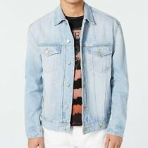 Guess Men Jacket Blue Size 2xl Jean Flap-Pocket Denim Logo Embroidered 168 011 Photo
