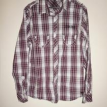 Guess Men Long Sleeve Button Down Shirt White Purple Size L 100% Cotton Original Photo