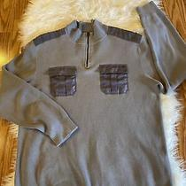 Guess Men's 1/4 Zip Pullover Cotton Gray Sweater With Pockets Size Xl Photo