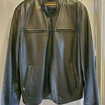 Guess Mens Authentic Leather Jacket Black Size Xl Photo