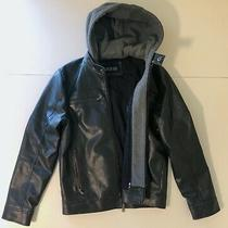 Guess Mens Black Leather Jacket With Removable Grey Hoody Size Small Photo