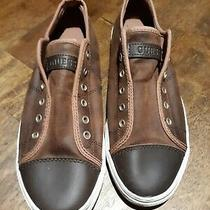 Guess Men's Brown Leather Shoes Gmmickey2 Sneakers Slips 9.5 M Casual Dress Photo