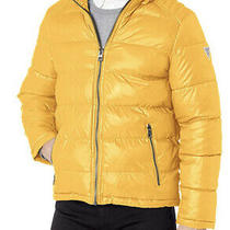 Guess Men's Detachable Hooded Puffer Bomber Jacket Coat Sz M Yellow 0746 Photo