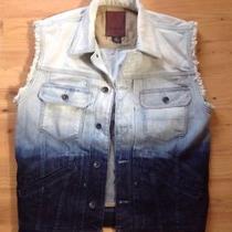 Guess Men's Distressed Hoodie Denim Jean Sleeveless Vest Size M Photo