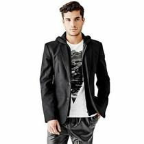 Guess Men's Grayson Hoodie Blazer - Size Large (L) - Black Authentic Photo