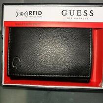 Guess Men's Leather Credit Card Id Wallet Passcase Trifold Black 31go110017 42 Photo