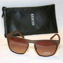 Guess Men's Square Sunglasses Brown Gradient Lens Brown Gu6815-Brn-34-56 Photo