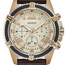 Guess Men's Stainless Steel Analog Quartz Watch With Leather Crocodile Strap Photo
