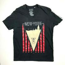 Guess Men's v-Neck Black Graphic Tee New York Short Sleeve Size M Flaws Photo