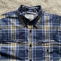 Guess Men Shirt Size L Plaid Buttons & Zippers Blue & Yellow Photo