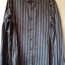 Guess Mens 100% Cotton Shirt L Embroidered on Back Stripe Fitted Hot Free Ship Photo