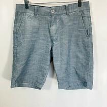 Guess Mens 32 Shorts Chambray Blue 100% Cotton Flat Front Bermuda Golf Pockets Photo