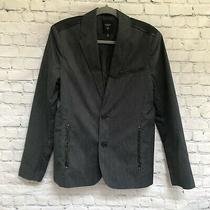 Guess Mens Black Pinstripe Cotton Blazer Jacket- Faux Leather Details- Size S Photo