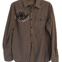 Guess Mens Brown Black Plaid Button Down Shirt Embroidered Size Small  Photo