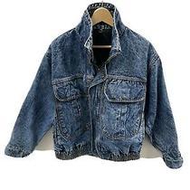 Guess Mens Denim Bomber Jeans Jacket Blue Acid Wash Zip Up Vintage Womens M Photo