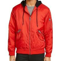 Guess Mens Jacket Red Size 2xl Hooded Zip-Detail New Wave Bomber 168 173 Photo