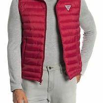Guess Mens Jacket Red Size Large L Puffer Hooded Quilt Full-Zip Vest 135 131 Photo