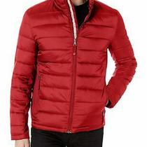 Guess Mens Jacket Red Size Xl Wind/water Resistant Hooded Zip-Up Puffer 225 170 Photo