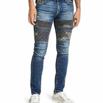 Guess Mens Jeans Blue Size 38x32 Moto Camo Distressed Skinny Stretch 148 138 Photo