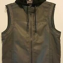 Guess Mens Khaki Green Faux Leather Zip Front Vest W/ Removable Hoodie Sz M Nwot Photo