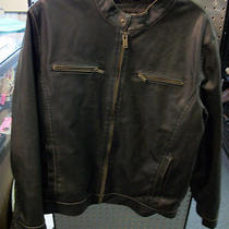 Guess Mens Large Black Leather Like Bikers Motorcycle Style Jacket Coat  Photo
