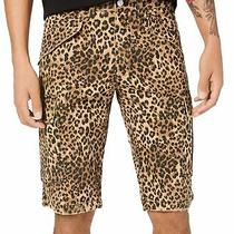 Guess Mens Shorts Brown Size 34 Carter Cargo Animal Leopard Print 79 030 Photo