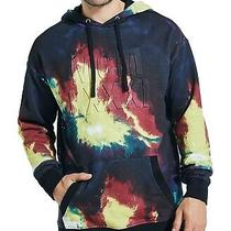 Guess Mens Sweater Black Blue Size Xl Hooded Finch Printed Pullover 98 062 Photo