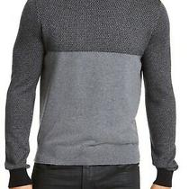 Guess Mens Sweater Gray Black Size 2xl Dash Jacquard-Yoke Knit Crewneck 89 045 Photo