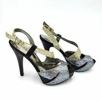 Guess Metallic Glitter Peep Toe High Heels Womens 7.5 Silver Gold Black Photo