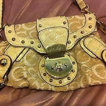Guess Mini Roma Purse in Ivory and Gold With Shoulder Strap and Wrist Strap Photo