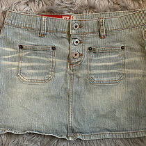Guess Mini Skirt Size 27 Railroad Stripes Button Fly Front Pockets Photo