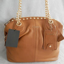 Guess Modern Simplicity Leather Satchel Caramel Photo