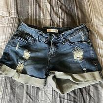 Guess Monet Cuffed Denim Midi Blue Jean Shorts - Size 28 Ripped Distressed Photo