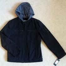 Guess Moto Motorcycle Cafe Racer Style Black Jacket With Hoodie Mens Size Small Photo