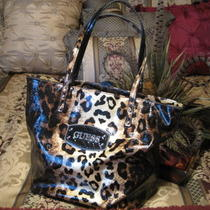 Guess Nala Leopard Patent Leather Handbag Tote Photo